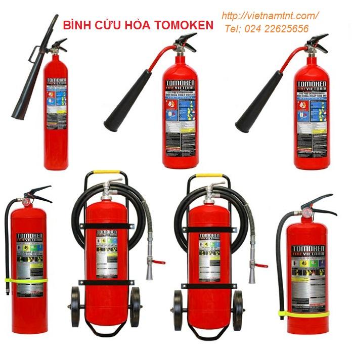 Bình cứu hỏa Tomoken, HCFC, HFC-123 có dán tem kiểm định của cục PCCC